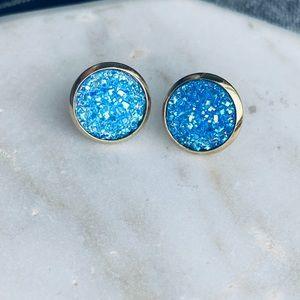 Druzy Stone Earrings Gold Ocean Blue Women Studs
